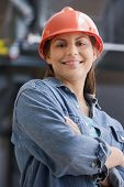 stock photo of blue-collar-worker  - Hispanic female construction worker - JPG