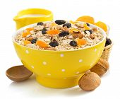 stock photo of cereal bowl  - bowl of cereals muesli isolated on white background - JPG