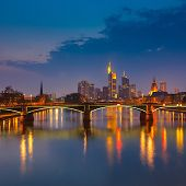 stock photo of frankfurt am main  - Frankfurt am Main at night - JPG