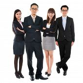 picture of southeast asian  - Portraits of Asian Multi Ethnic Cheerful Business People Standing Isolated on White Background - JPG