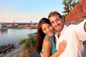 image of scandinavian  - Couple taking selfie self portrait in Stockholm - JPG