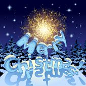 stock photo of merry christmas text  - Vector image of a sparkler and Merry Christmas text with ice letters under snow on night  winter fir forest background - JPG