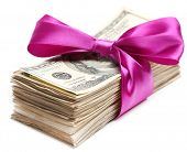 picture of bundle money  - Bundle of dollars tied with ribbon isolated on white - JPG