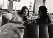 picture of diners  - Bride and groom eating at diner - JPG