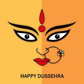 picture of navratri  - Illustration of Goddess Durga face wearing nose ring with stylish text on double coloured background - JPG