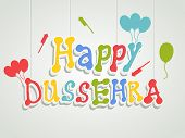 image of dussehra  - Stylish colourful text of Happy Dussehra with ballons and crackers on gery background - JPG