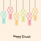 image of laxmi  - Illustration of hanging lamps with pearl decorated rope and stylish text - JPG