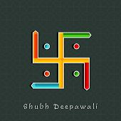 stock photo of swastika  - Illustration of colourful Swastika sign with Subh Deepawalitex on seamless background - JPG