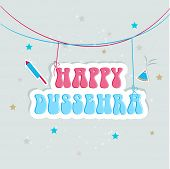 picture of dussehra  - Illustration of hanging text of Happy Dussehra  with crackers and stars - JPG
