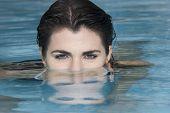 pic of peer-pressure  - Hispanic woman in swimming pool - JPG