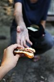 stock photo of beggars  - Homeless beggar food and money - JPG