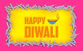 picture of diya  - illustration of Happy Diwali background with diya and firecracke - JPG