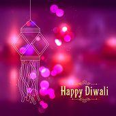 picture of ganpati  - illustration of hanging kandil in Diwali night - JPG