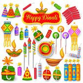image of ganpati  - illustration of set of colorful firecracker for Diwali holiday fun - JPG