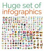 picture of origami  - Huge mega set of infographic templates - JPG