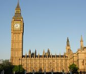 stock photo of big-ben  - Big Ben bell tower and Houses of Parliament - JPG
