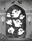 stock photo of dungeon  - Black and white alcove and ghosts 1  - JPG