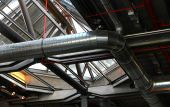 picture of air conditioning  - Modern artistic Ceiling and Ducting details inside a building - JPG