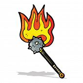 stock photo of mace  - flaming mace weapon cartoon - JPG
