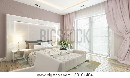 A 3D Rendering Of Modern Bedroom With Pink Wall