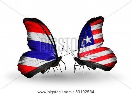 Two Butterflies With Flags On Wings As Symbol Of Relations Thailand And Liberia