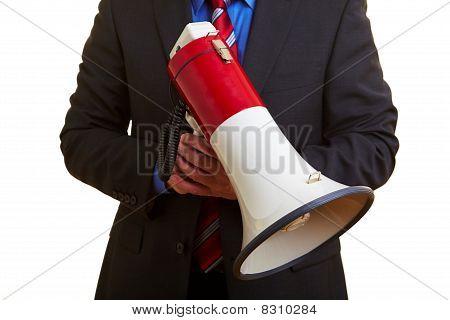 Manager Holding Big Megaphone
