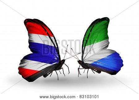 Two Butterflies With Flags On Wings As Symbol Of Relations Thailand And Sierra Leone