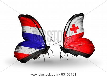 Two Butterflies With Flags On Wings As Symbol Of Relations Thailand And Tonga