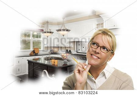 Daydreaming Woman With Pencil Over Custom Kitchen Photo in Thought Bubble.