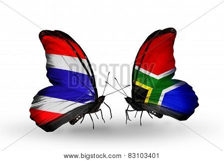 Two Butterflies With Flags On Wings As Symbol Of Relations Thailand And South Africa