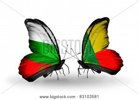 Two Butterflies With Flags On Wings As Symbol Of Relations Bulgaria And Benin