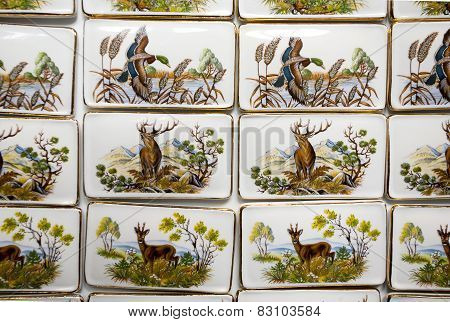 Wild Animal Motifs On Handmade Porcelain Fridge Magnets. Hunting Symbols