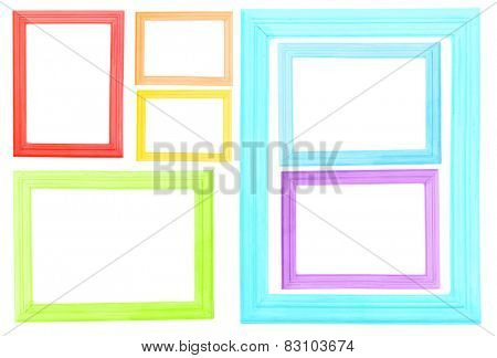 Collage of colorful frames isolated on white