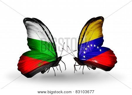 Two Butterflies With Flags On Wings As Symbol Of Relations Bulgaria And Venezuela