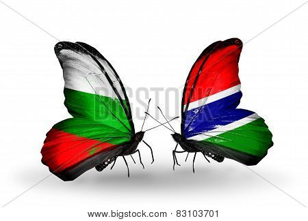 Two Butterflies With Flags On Wings As Symbol Of Relations Bulgaria And Gambia