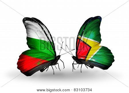 Two Butterflies With Flags On Wings As Symbol Of Relations Bulgaria And Guyana