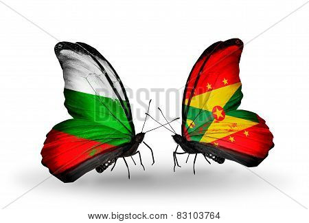 Two Butterflies With Flags On Wings As Symbol Of Relations Bulgaria And Grenada