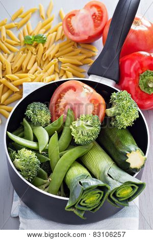 Ingredients for soup with pasta and vegetables