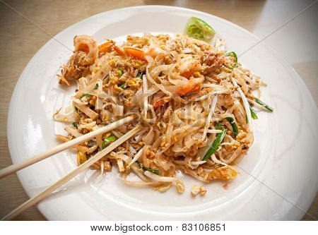 Pad Thai With Shrimps, Traditional Thai Main Dish.