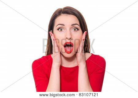 Adorable Woman With Red Lipstick Standing In Awe Looking At Camera With Mouth And Eyes Open Wide Sur