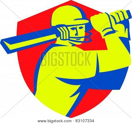 Cricket Player Batsman Batting Shield Retro