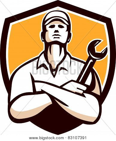 Mechanic Arms Crossed Wrench Shield Retro