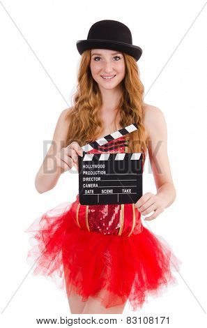 Young fairy with clapperboard isolated on white