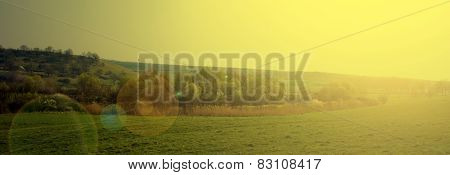 Image Panoramic Landscape Of Grass And Trees