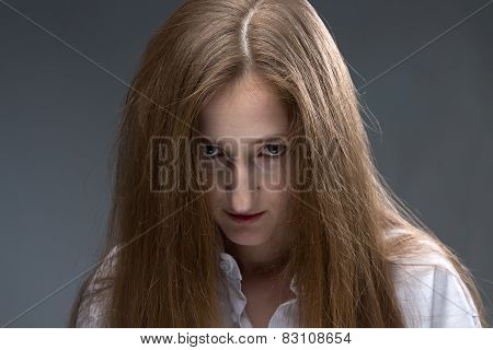 Photo of young psycho woman
