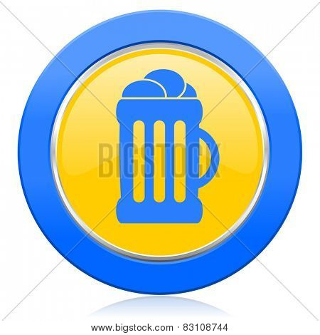 beer blue yellow icon mug sign