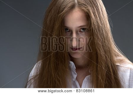 Image of young psycho woman