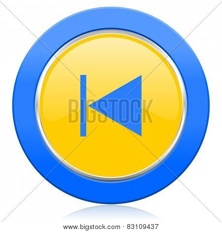 previous blue yellow icon