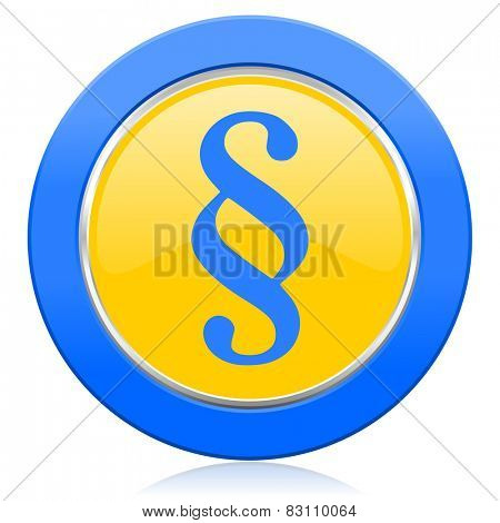 paragraph blue yellow icon law sign