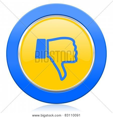 dislike blue yellow icon thumb down sign